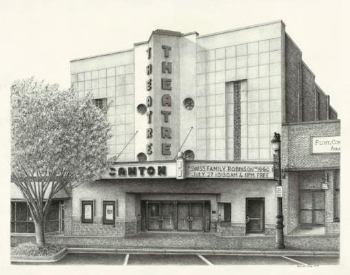 Canton Theatre. 11 x 14 inches, Graphite on paper.