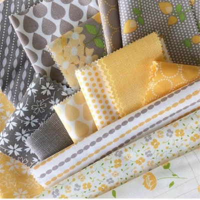 Yellows and grey from two of Corey's lines, Sundrops and Lulu Lane