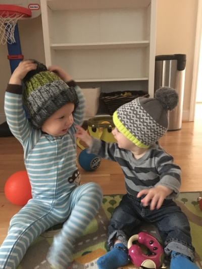 This is from before we left to go to the new house. Aren't they just so stinkin' cute in their coordinating hats?!