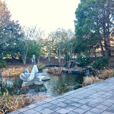The pond in the Al Weeks Sculpture Garden