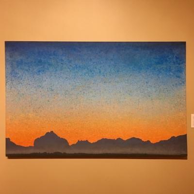 Sunset (Harquahala Mountains, Arizona) by Merrill Mahaffey. Acrylic on canvas, 1978.