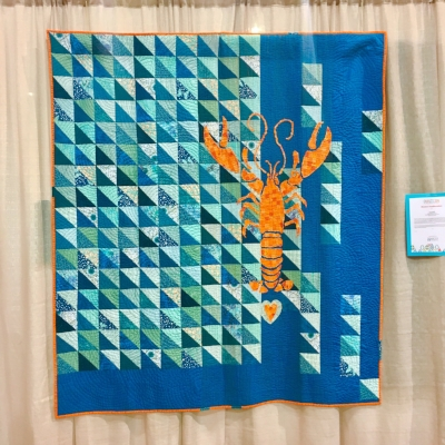 """""""I Love Lobstah"""" by Shelley Brooks. I saw this quilt in Chattanooga, but my phone was dead. I did a straight up happy dance when I saw it Saturday! It was every bit as fabulous as I remembered!"""