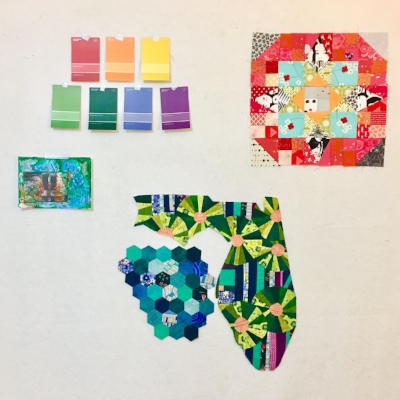 Current collection on the design wall: paint swatches of colors I'm thinking about, collage I made at the Hudgens Museum with the boys and my mama today, En Provence block, and the Florida E Pluribus Unum quilt in progress