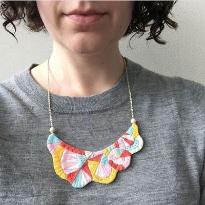 Katie made this necklace to wear at QuiltCon4