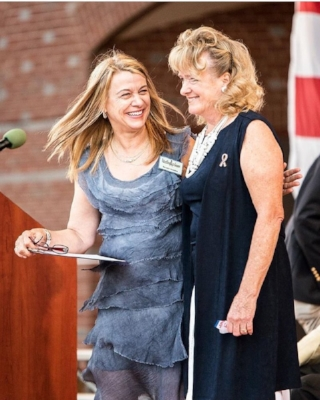 Mayor Harris (Left) and artist Kathy Fincher (right) at The Dream Keepers Unveiling. Photo Credit: Dustin Grau