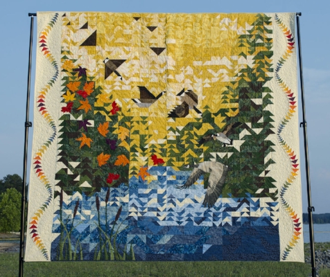 "The 2017 Raffle Quilt, ""Coming Home,"" that was made by more than 40 guild members"