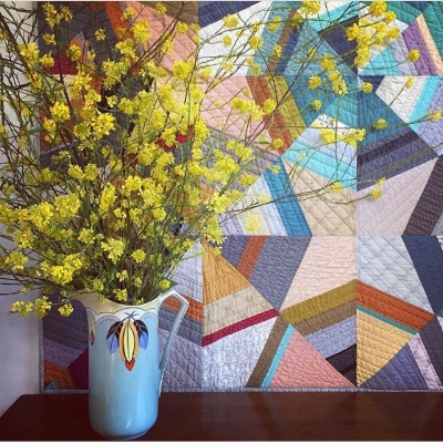 Mustard blooms and an Octagon Shimmer Quilt