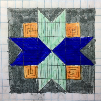 Quilting Plan Auditions for my North Star Block by HollyAnne Knight of String and Story
