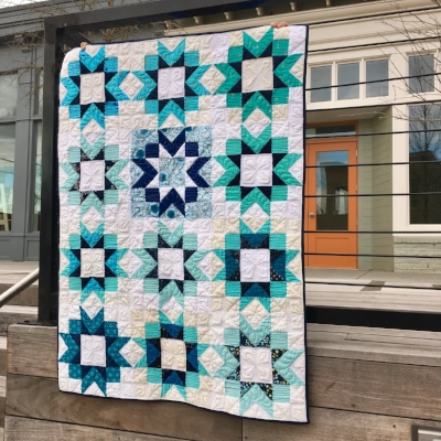 Blue Stars Quilt- Kitchen Table block by Pat Sloan, Quilted by HollyAnne Knight of String & Story