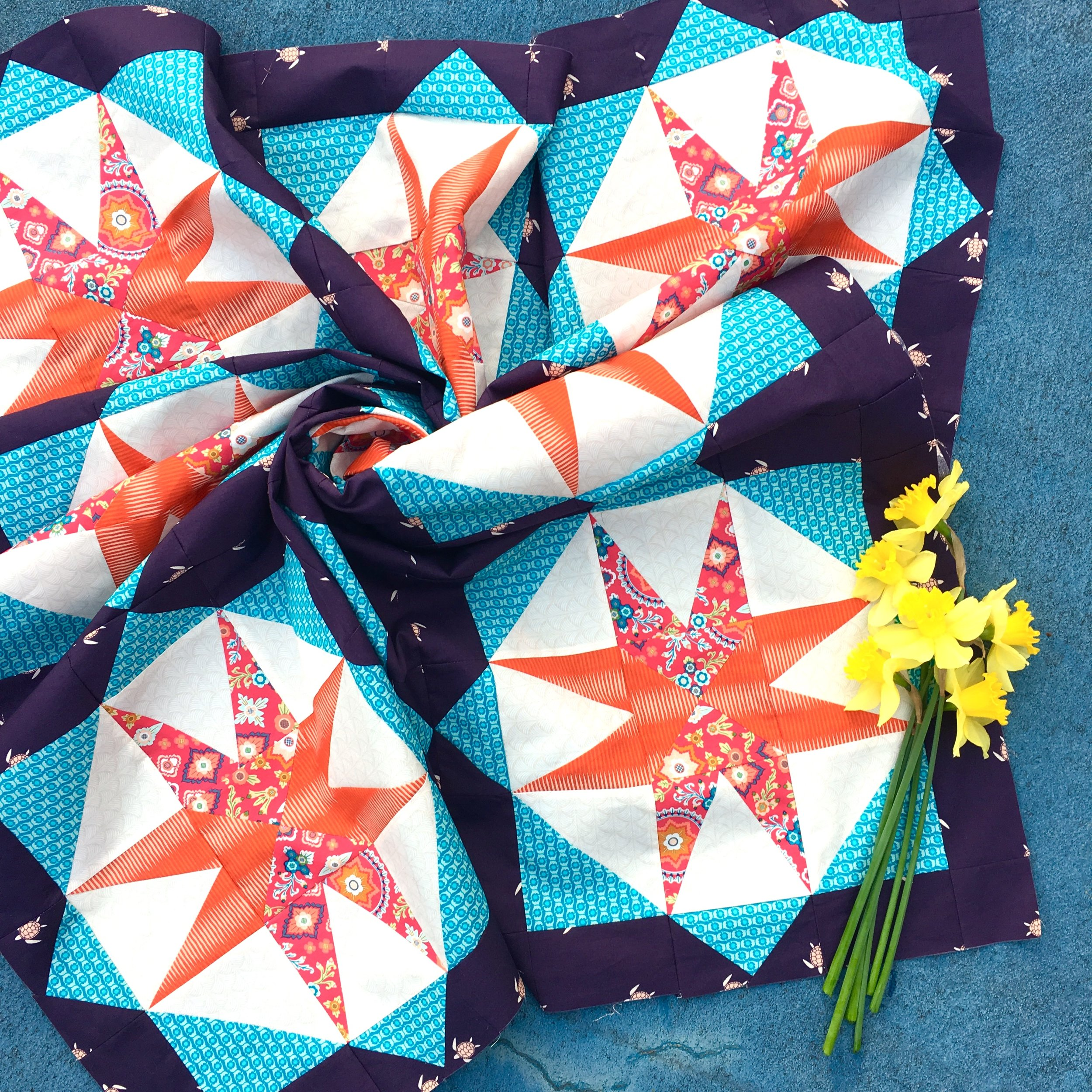 Mister Domestic's Aura Blog Party Day 18: Star Island Quilt Pattern by HollyAnne Knight of String & Story