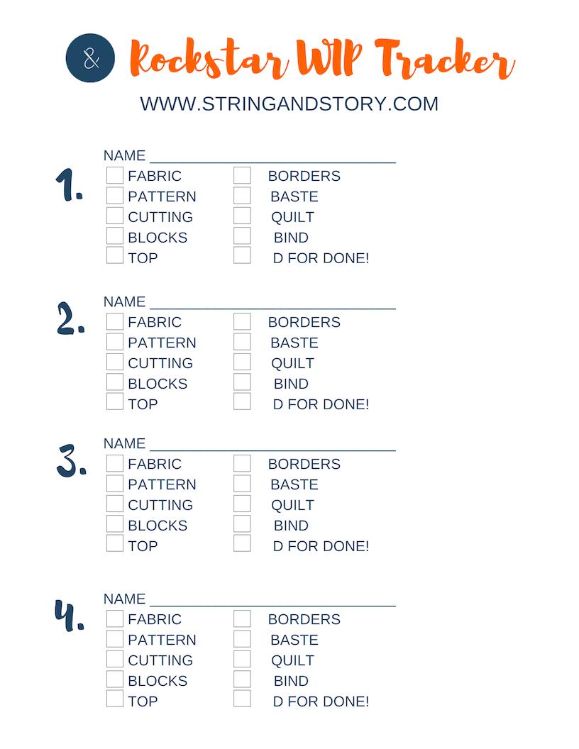 Rockstar WIP Tracker by HollyAnne Knight of String & Story