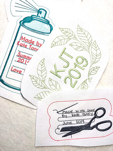 Embroidered Labels by Kate Toney of Tough Kitten Crafts -- How to Make Quilt Labels with HollyAnne Knight of String & Story