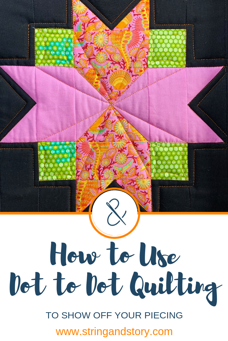 Dot to dot quilting is a great way to show off piecing and focal fabrics as well as provide visual contrast with denser, curvier free motion quilting motifs. Here are my best tips for when and how to use dot to dot quilting on your quilts!