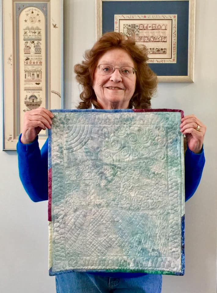 Francie Jo S's whole cloth quilt from Free Motion Quilting Academy with HollyAnne Knight of String & Story