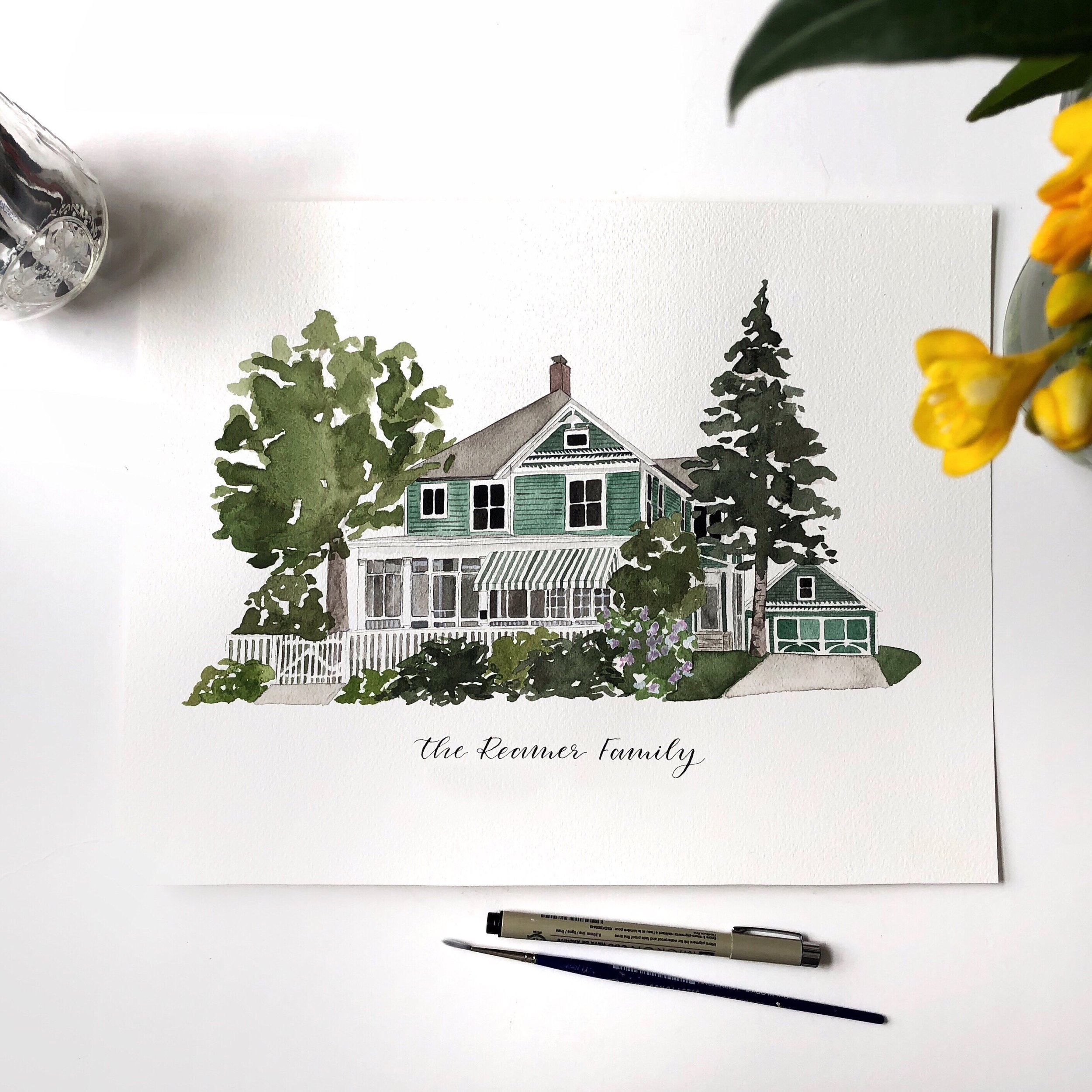A memorable Keepsake - Are you interested in a Custom Watercolor Home Portrait?