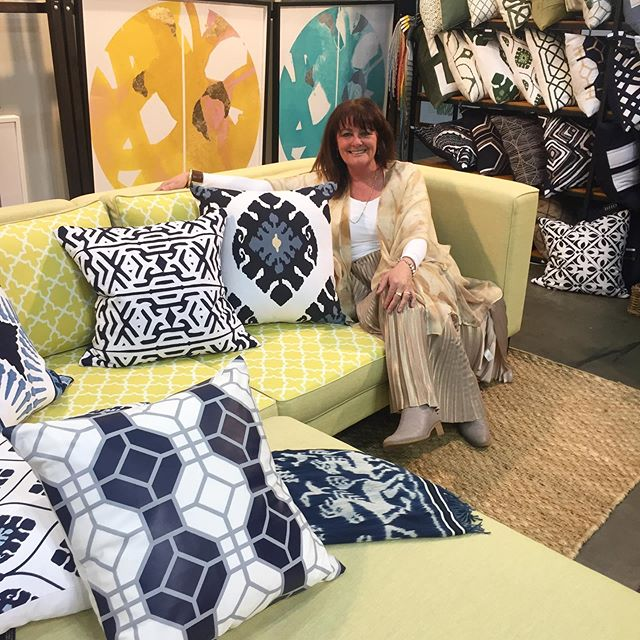 Tai @bhdaus looking fabulous with her outdoor cushions showcased on our outdoor sofa @decordesignshow