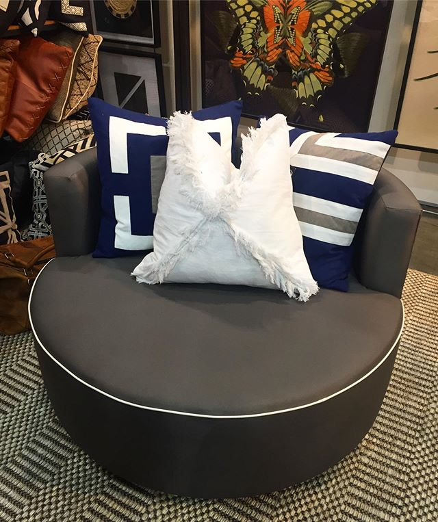 Our outdoor custom made swivel chair in luxury yacht fabric is perfect for outdoor living. Swing by @bhdaus at @decordesignshow today to check us out ☀️☀️#outdoor #outdoorliving #outdoorfabric