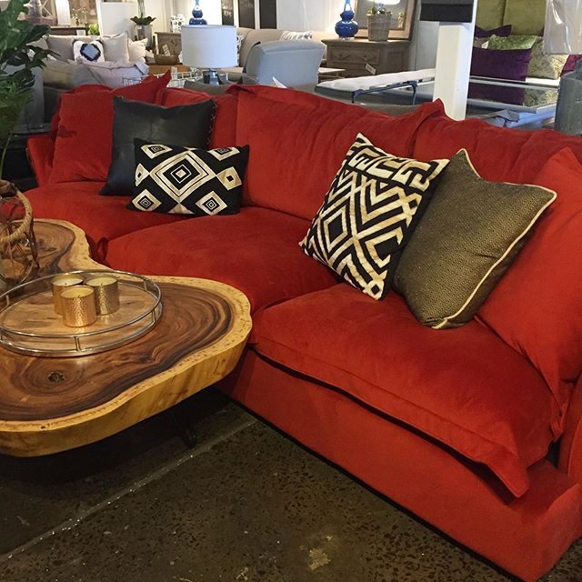 🧡❤️earthy tones in our luxe burnt orange velvet custom made sofa paired perfectly with @bhdaus cushions & @naturaltimbertables coffee table. Visit our showroom to experience the luxe look for less #custommade #sofa #velvetsofa #interiors
