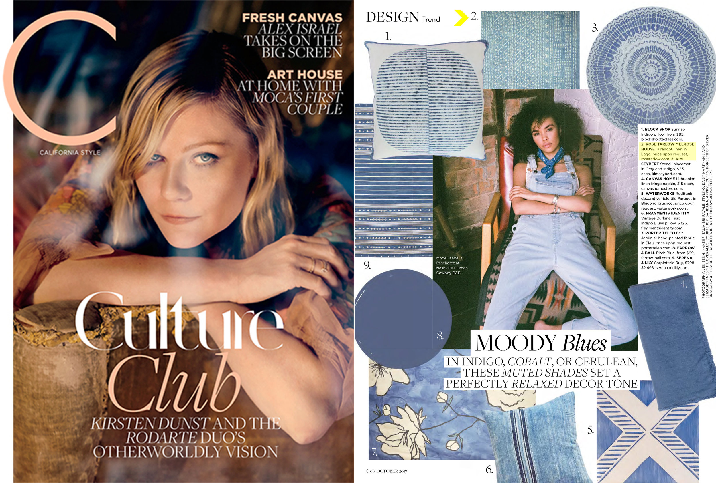 C Magazine // October 2017  Rose Tarlow Melrose House  S/S '17 Textile Collection