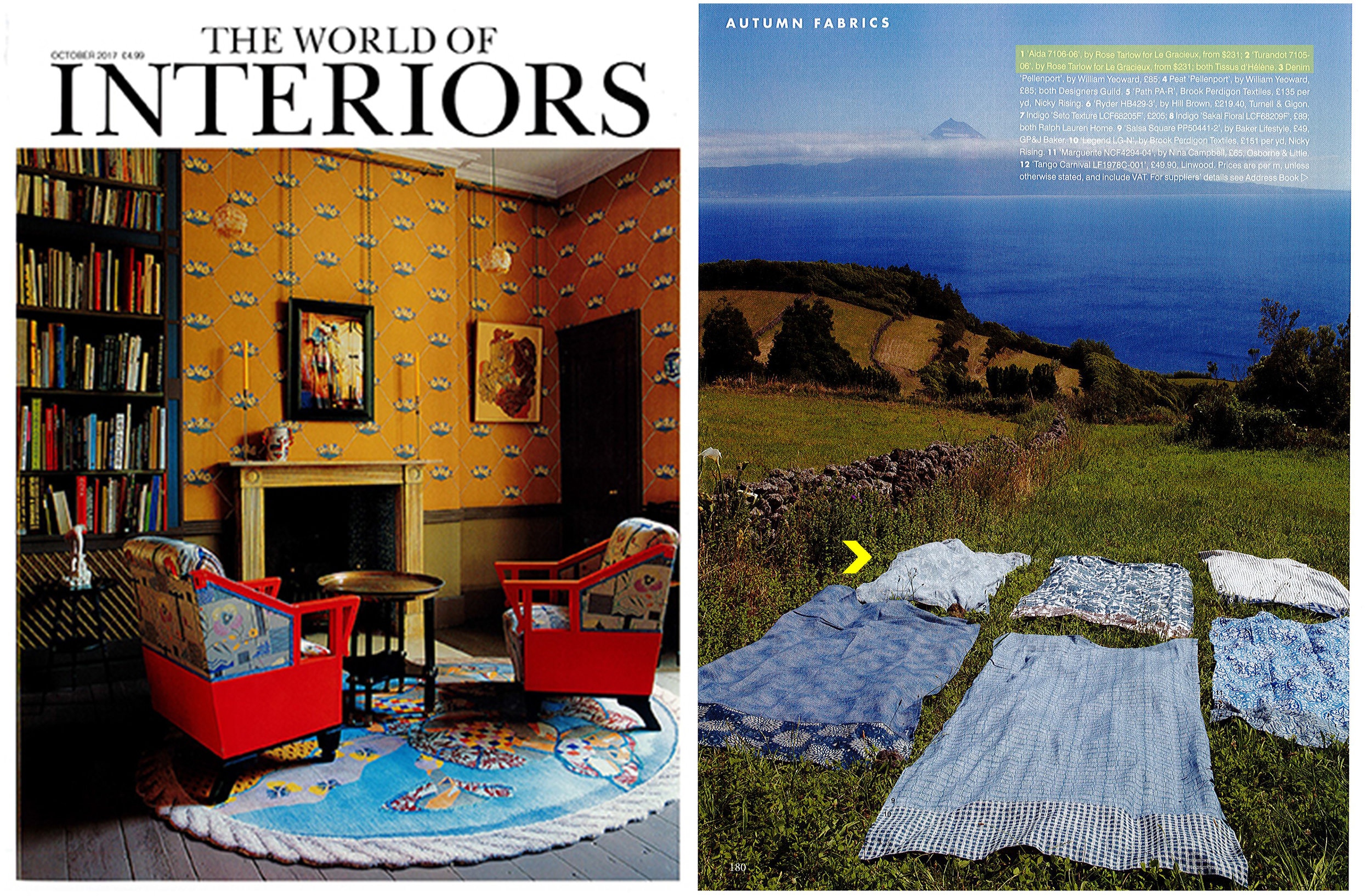 World of Interiors // October 2017  Rose Tarlow Melrose House  S/S '17 Textile Collection