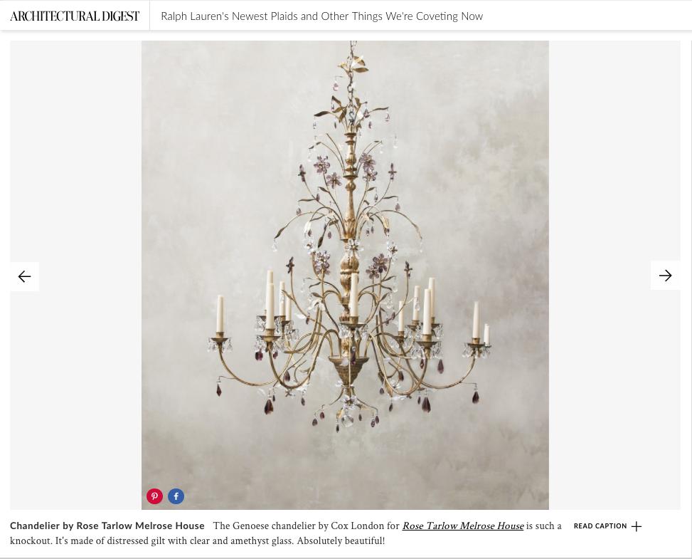 architecturaldigest.com // October 2017  Cox London for Rose Tarlow Melrose House  Genoese Chandelier