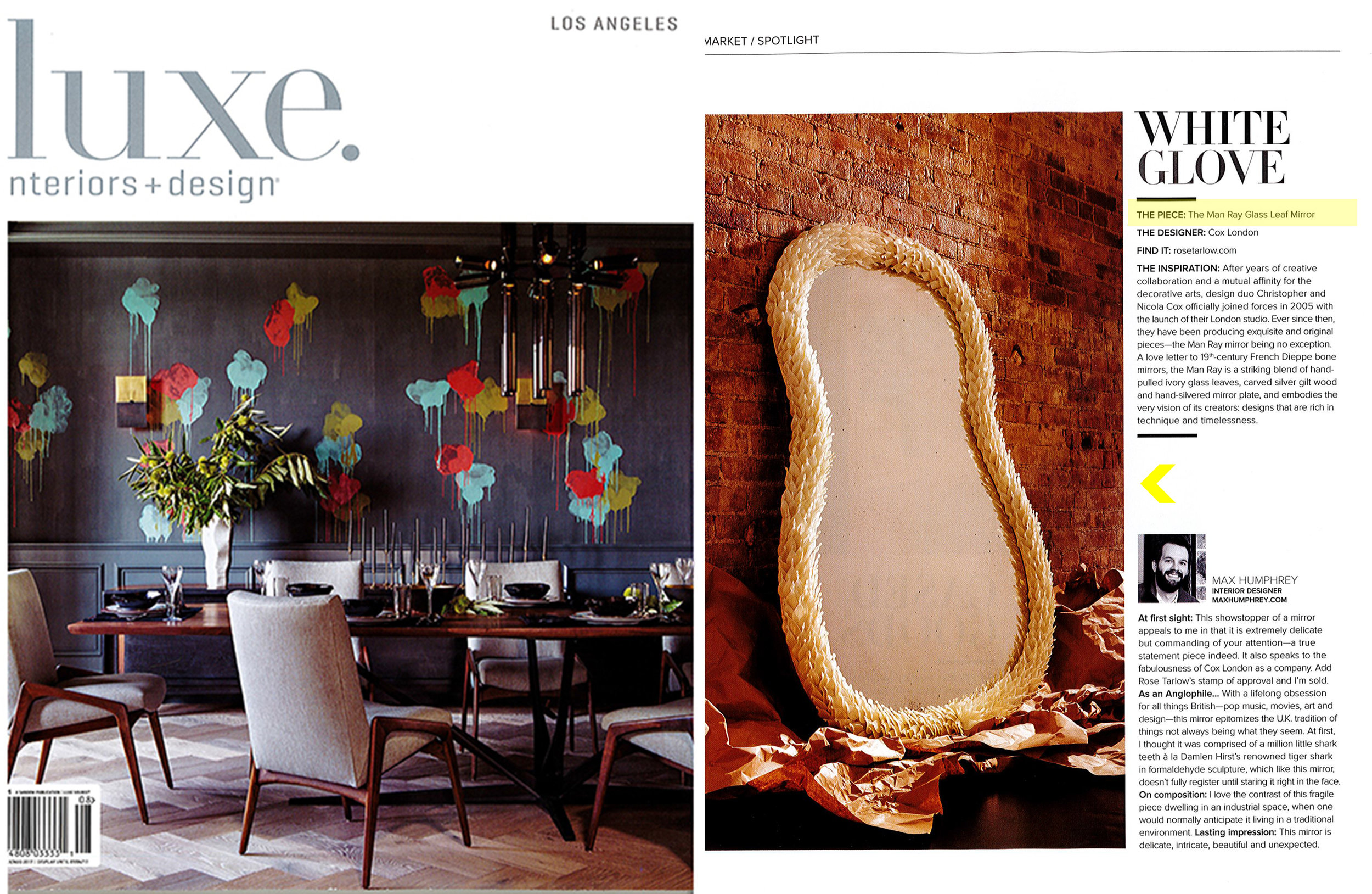 LUXE // August 2017  Cox London for Rose Tarlow Melrose House  Man Ray Glass Leaf Mirror
