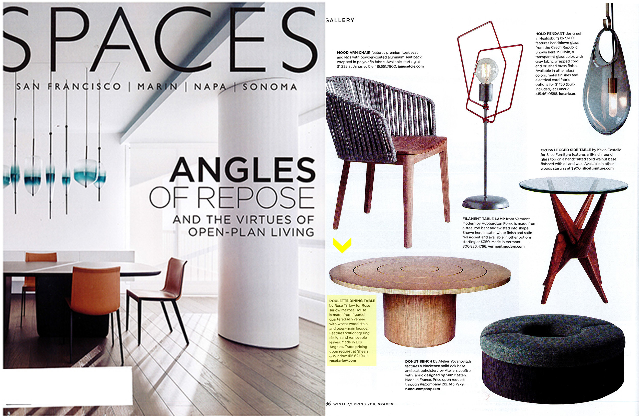 Spaces Magazine // January 2017  Rose Tarlow Melrose House  Roulette Dining Table