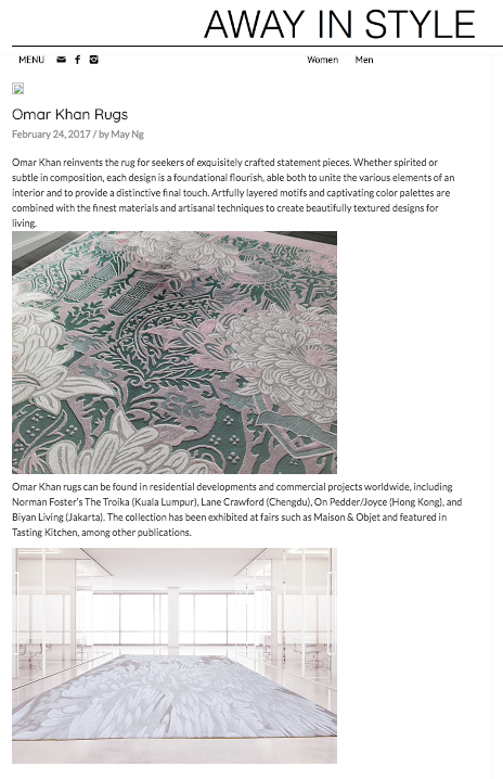 OMAR KHAN RUGS FEATURED IN AWAY IN STYLE