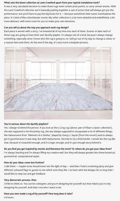 OMAR KHAN RUGS FEATURED IN LIFESTYLE ASIA
