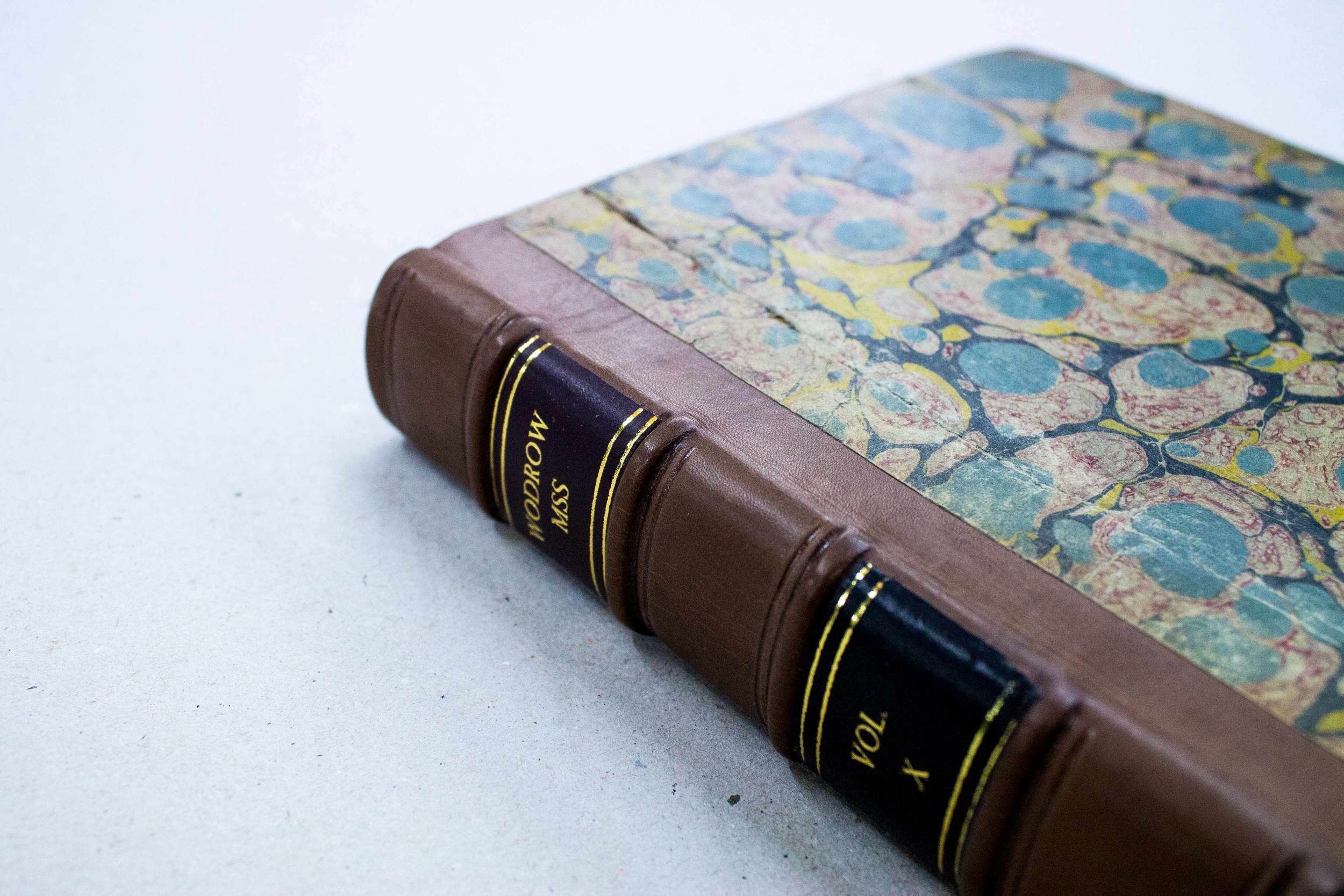 Restored book with leather spine