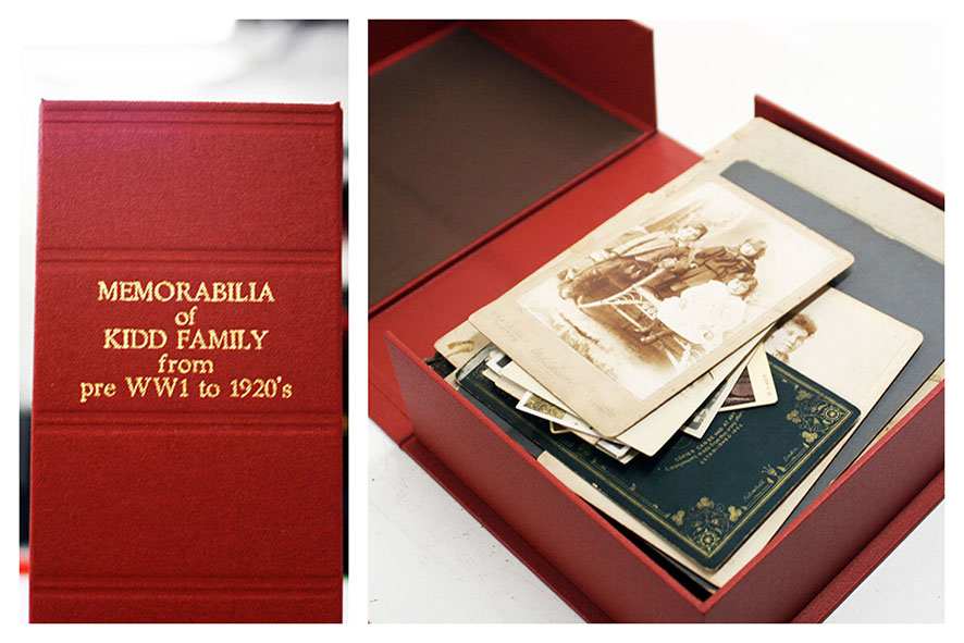 Archival box with photographs