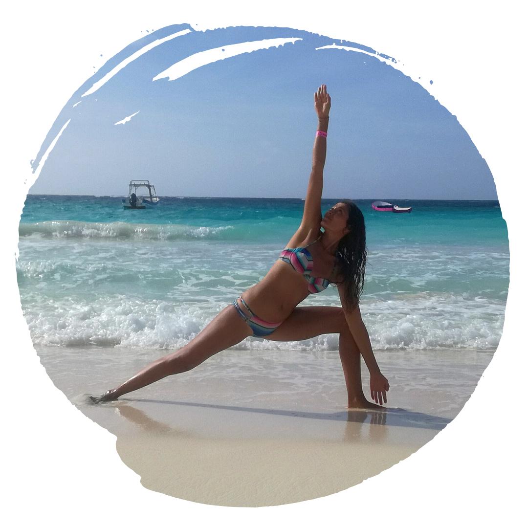 Ceci traveling bikram yoga teacher triangle