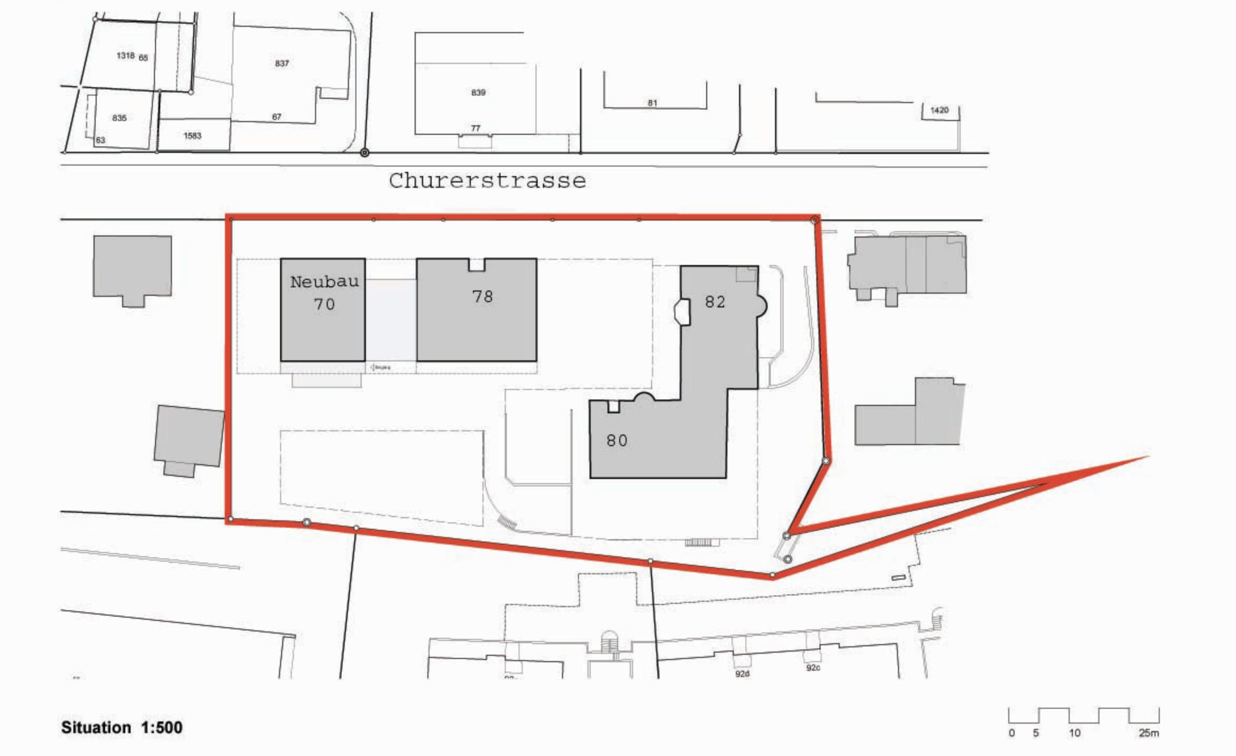 Sagi Immobilien, Churerstrasse, Situationsplan