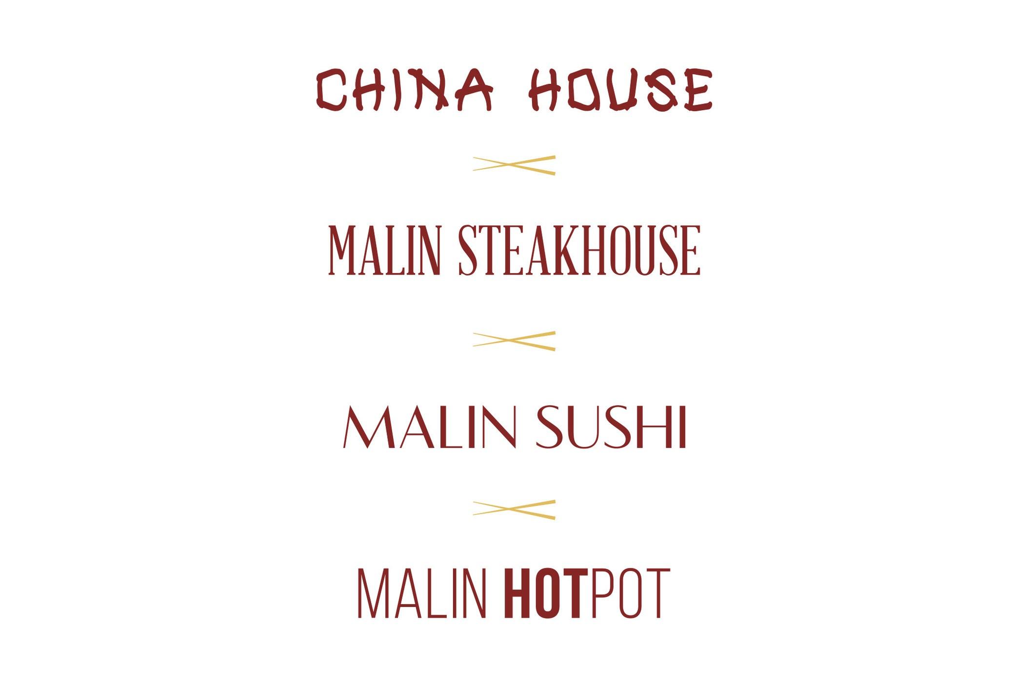 Fire restaurantar i ein - Restauranthuset Malin er ein stor restaurant med 220 sitjeplassar og med fire ulike matkonsept: ChinaHouse, Steakhouse, Sushi og HotPot. Vi utvikla separate logoar for konsepta.