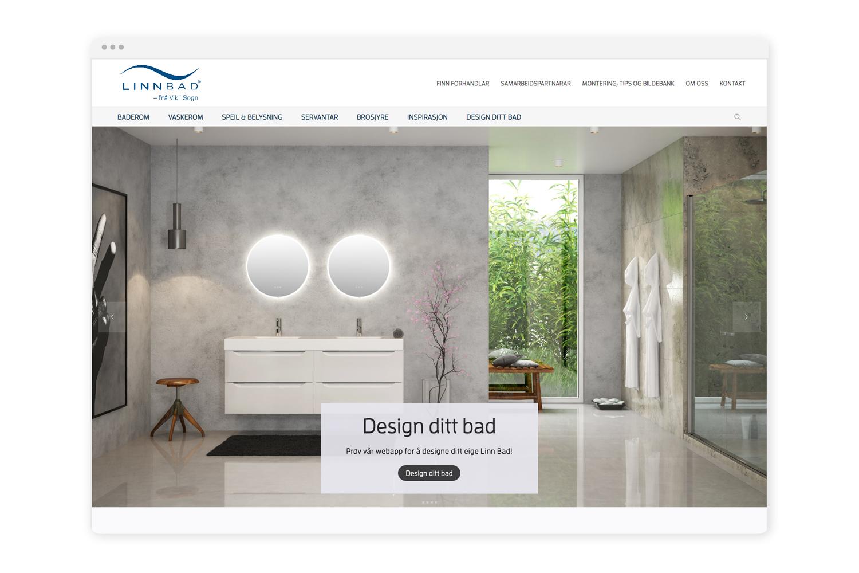 Linnbad.no - God presentasjon av produkt. Nettsider for inspirasjon. Design ditt eige bad. Dette var nøkkelord for utvikling av nettsidene.Design/programmering i prosjektet: Frode Berge.