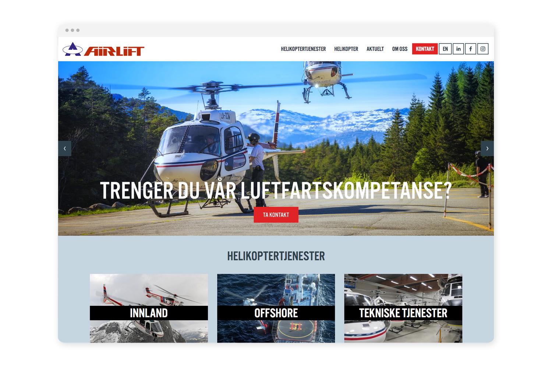 Nettsider - Vi har utvikla nettsidene til Airlift, som eksisterar i norsk og engelsk versjon, i tillegg til eigne nettsider for DOA/design-divisjonen. Nettsidene er basert på Squarespace.