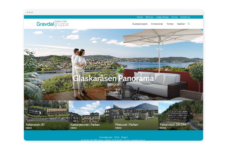 """Nettside basert på Squarespace - Den nye nettsida har meir fokus på salg og leilegheitsprosjekt. Designmessig er det fokusert og stramt, og vi har - etter klar oppfordring frå kunde - valt eit design der det meste viser over """"folden"""".Vi takkar Asbjørn Osland & Co for godt samarbeid!"""