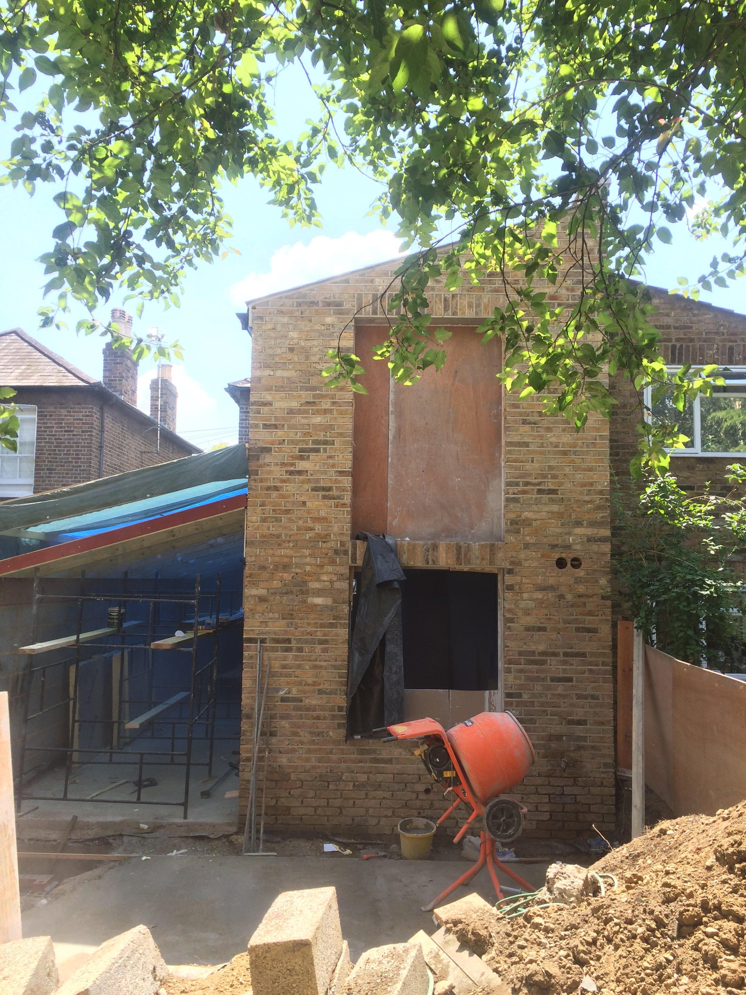 Rear elevation, brickwork complete