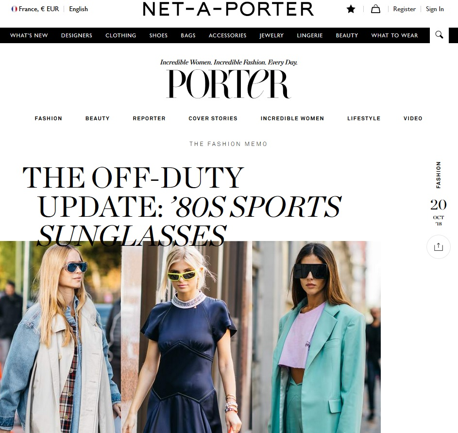 Net A Porter : The 80s' Sport Sunglasses