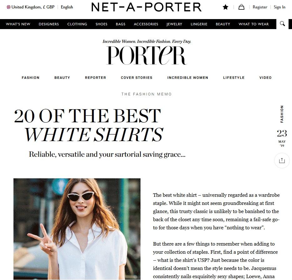 Net A Porter : 20 White Shirts