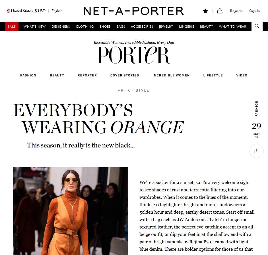 Net A Porter : Everybody's Wearing Orange