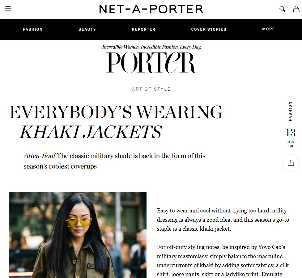 Net A Porter : Everybody's wearing Khaki Jackets