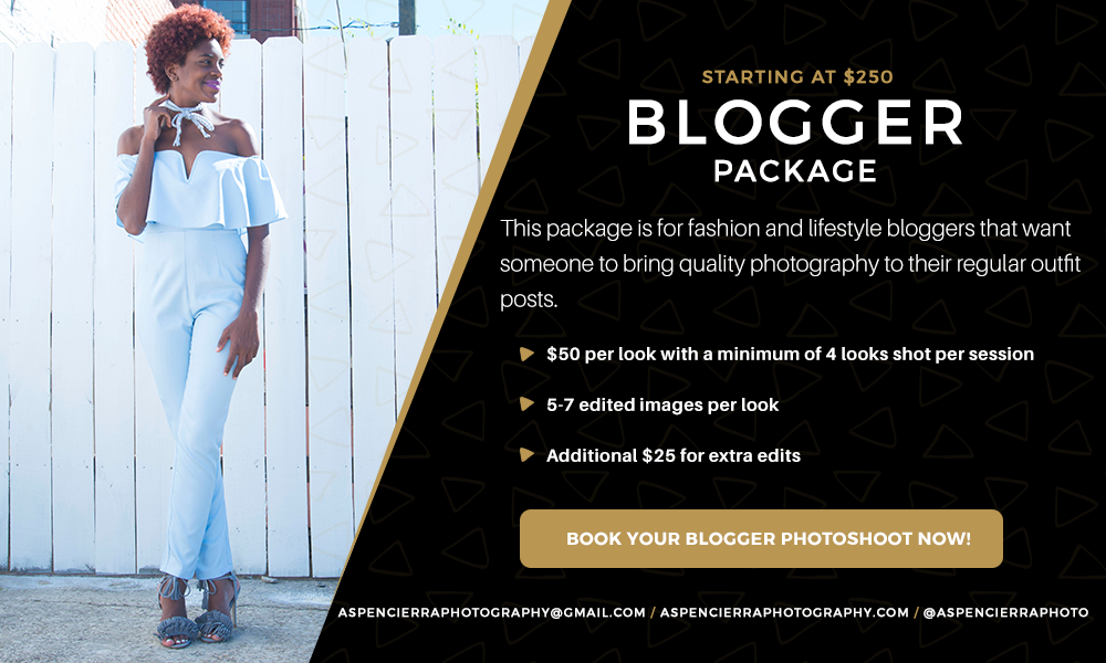 If you're struggling with how to create quality photos for your blog or business leave me a comment below and let me know how I can help. If you're based in Atlanta I offer a blog photography package    here    for fashion, beauty and lifestyle bloggers that need their looks shot. Don't be shy and send me an email.