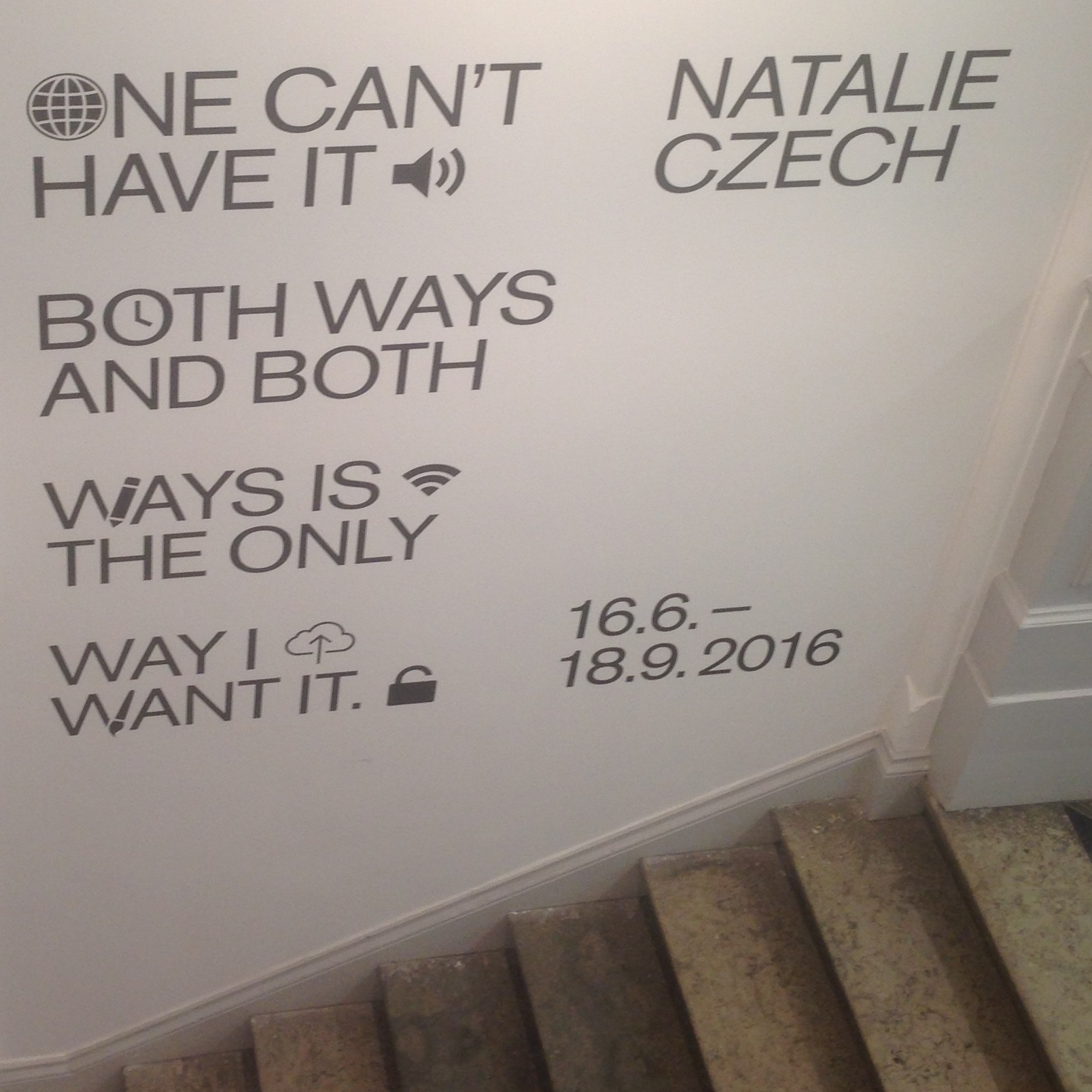 Natalie Czech, One can't have it both ways and both ways is the only way I want it, 2016