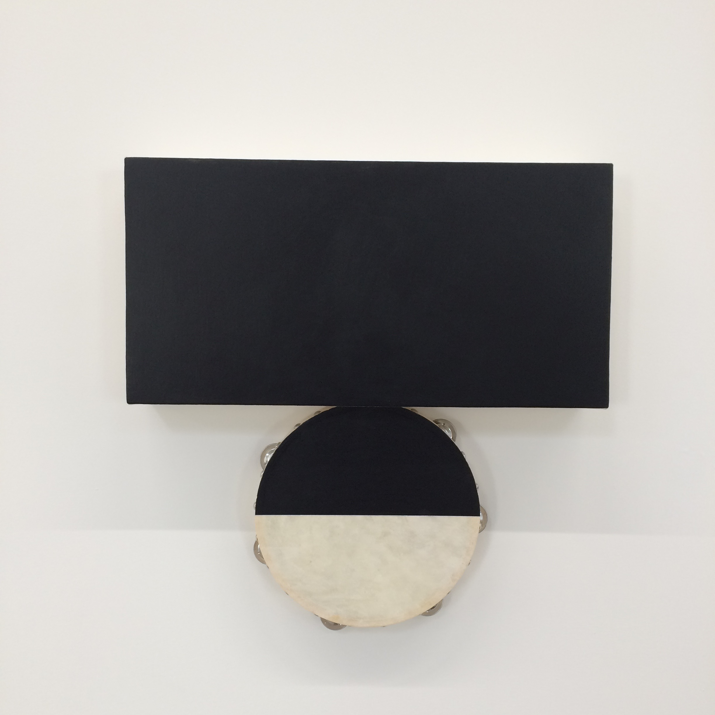 Paul Lee, Either Side of the Night, 2016. Tambourine, acrylic, and canvas, 20 1/2 x 20 1/2 x 3 1/2 inches. Courtesy of the artist and Maccarone, Los Angeles.