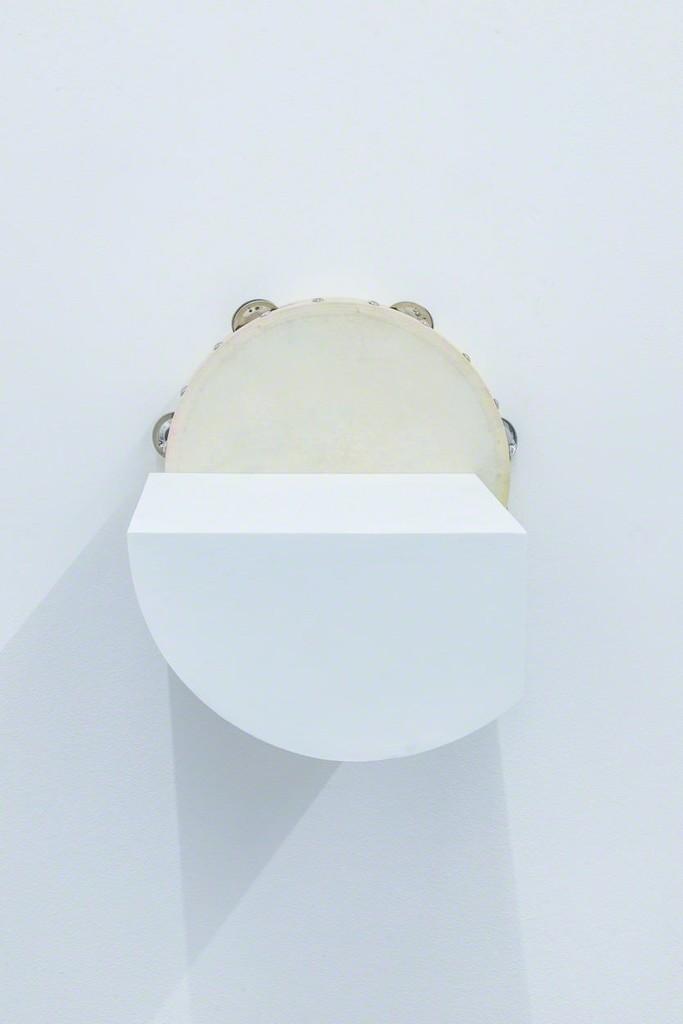Paul Lee, untitled (tambourine), 2014  Tambourine, acrylic, pastel, wood glue, birch plywood, screws 10 1/2 × 10 1/2 × 11 in