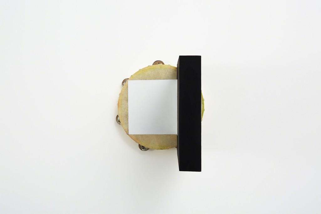 Matinee, Tambourine, 2015 acrylic, pastel, wood glue, birch plywood, screws 10 1/5 × 10 1/5 × 16 7/10 in 26 × 26 × 42.5 cm