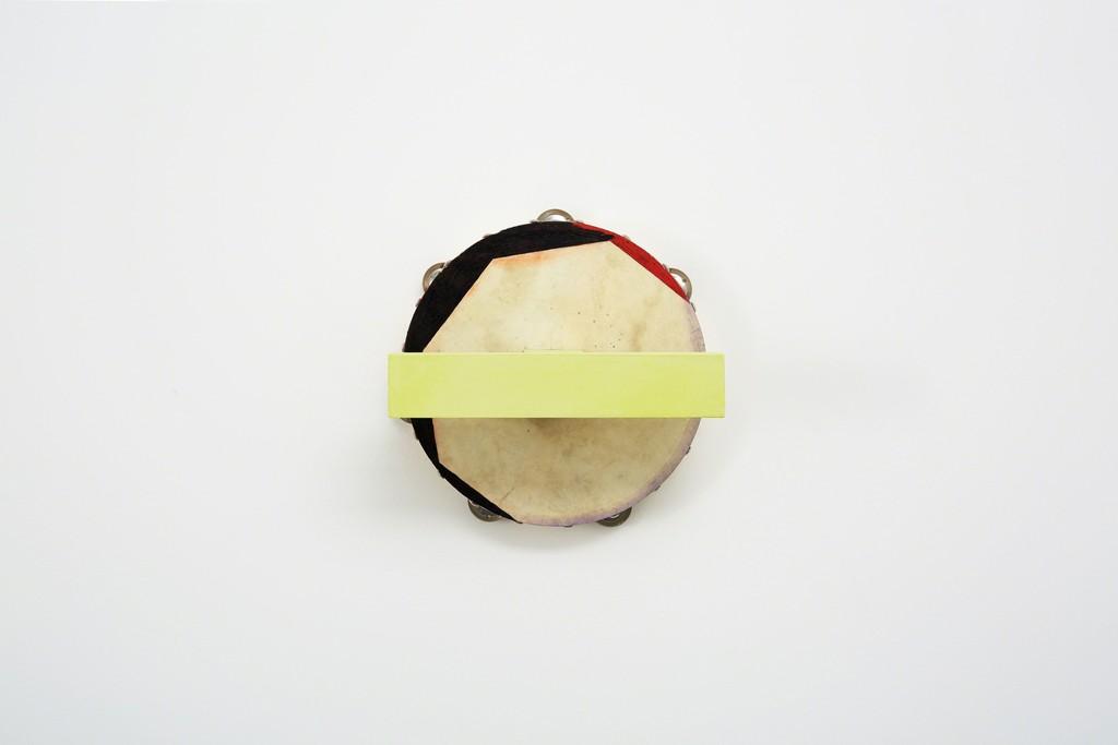 Paul Lee,Tambourine, 2015 acrylic, pastel, wood glue, birch plywood, screws 9 4/5 × 9 4/5 × 6 9/10 in