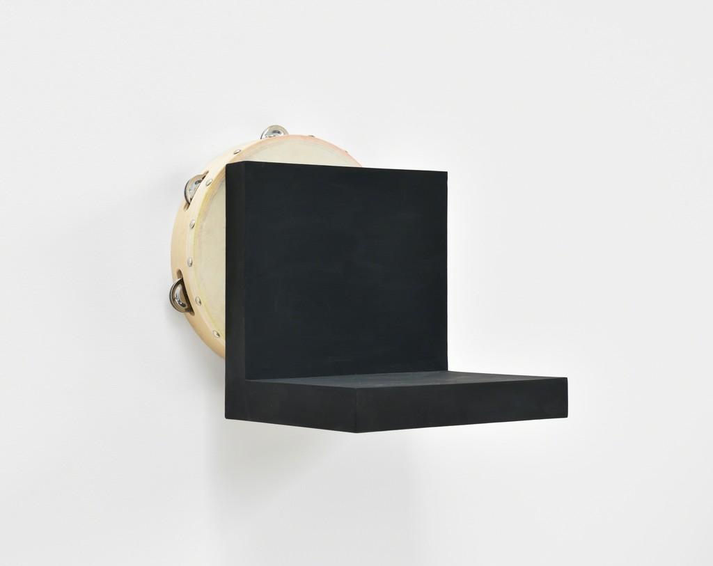 Paul Lee, Tambourine, 2015 Tambourine, acrylic, pastel, wood glue, birch plywood, screws 11 2/5 × 11 4/5 × 10 1/5 in