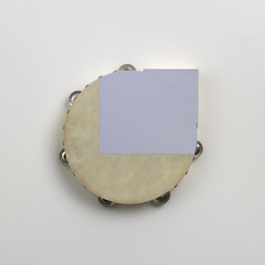 Paul Lee Untitled (tambourine with lavender corner), 2010 Tambourine, wood, acrylic paint (26 × 26 x 5 cm)